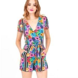 Yumi Kim Safari Romper / Floral Stripe Jumpsuit